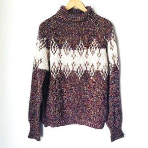 Vintage Chunky Knit Fair Isle Turtleneck Sweater
